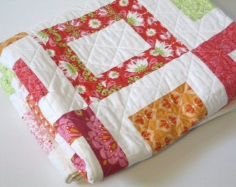 Simple squares is a homemade quilt with organic fabrics from Monaluna,