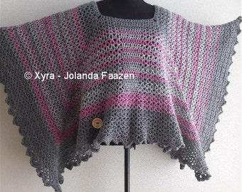 Patr1066 Xyra Crochet Pattern Straight Shawlwrapponcho Etsy