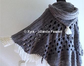 PATR1032 - Xyra Crochet-pattern - Poncho with sleeves and large hood - (Dutch & English-US)
