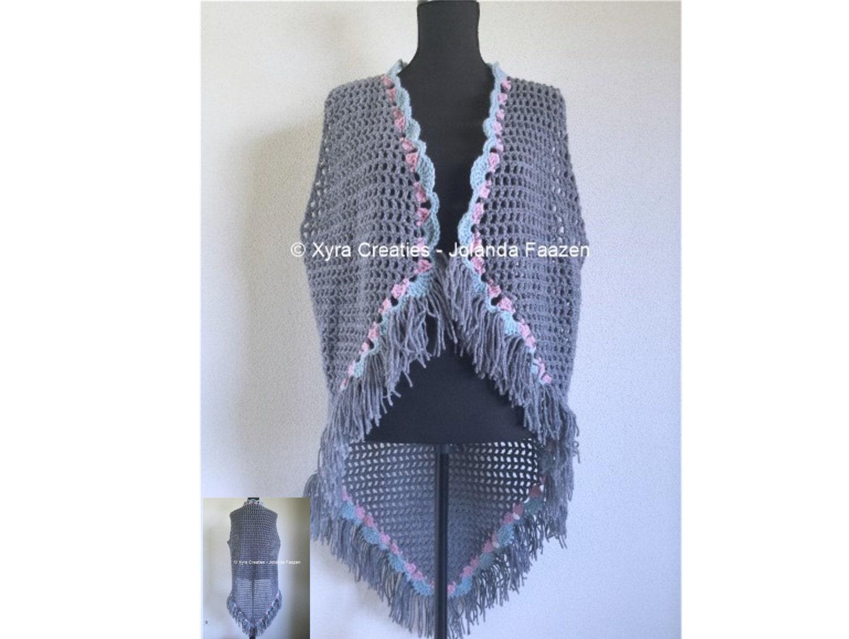 Patr1067 Xyra Crochet Pattern Long Gilet Vest Without Etsy