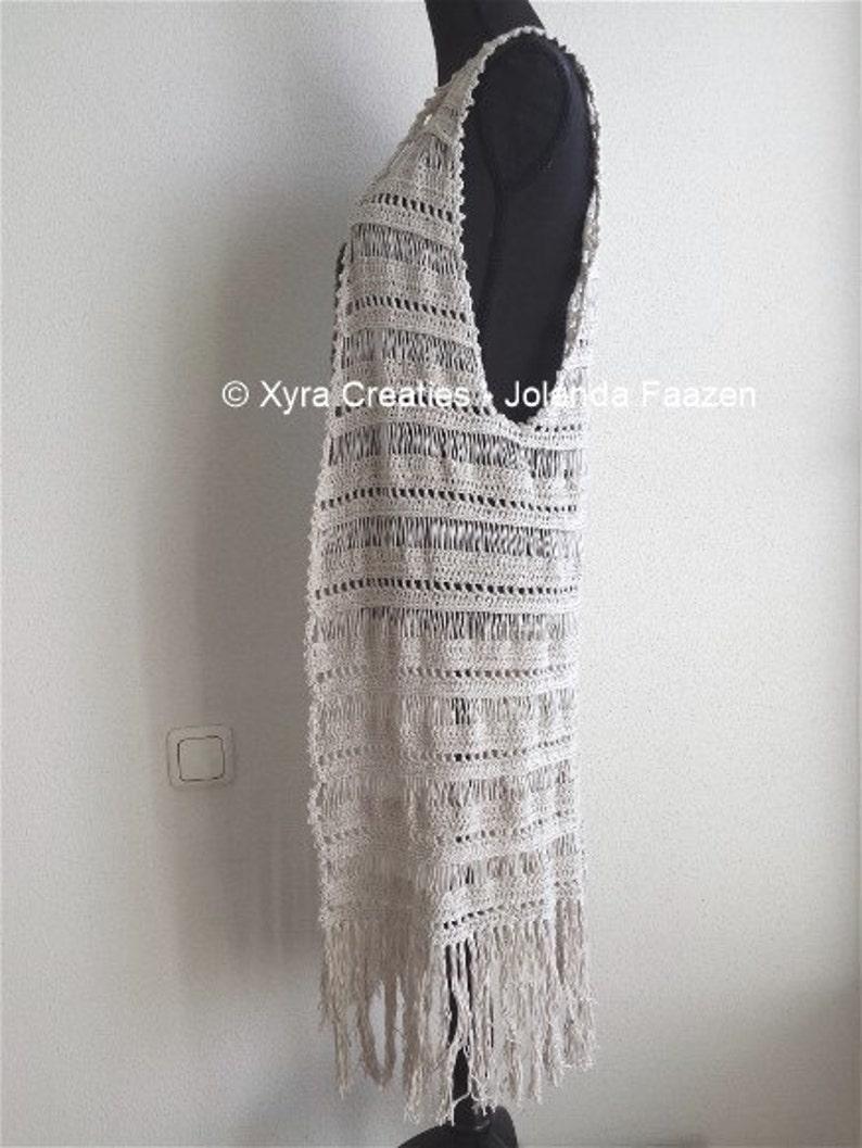 Uitzonderlijk PATR1075 Xyra Haakpatroon Lang gilet / vest zonder mouwen | Etsy &AJ33