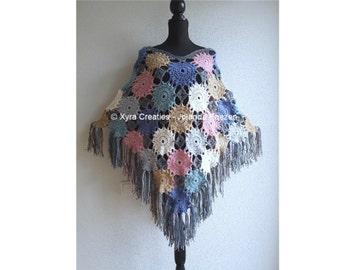 PATR1078 - Xyra Crochet-pattern - Poncho with circles / flowers - (Dutch & English-US)