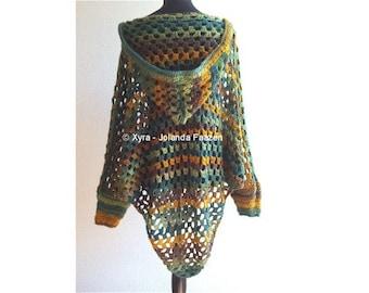 PATR1030 - Xyra Crochet-pattern - Poncho with sleeves and hood (English-US & Dutch)