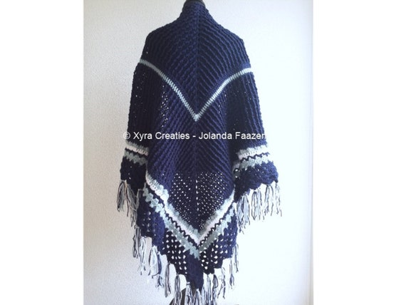 Patr1058 Xyra Crochet Pattern Wrap Shawl With Ridges And Etsy
