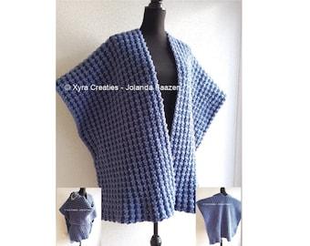 PATR1066 - Xyra Crochet-pattern - Straight shawl/wrap/poncho / Haakpatroon - Rechte omslagdoek/poncho (NL & English-US)