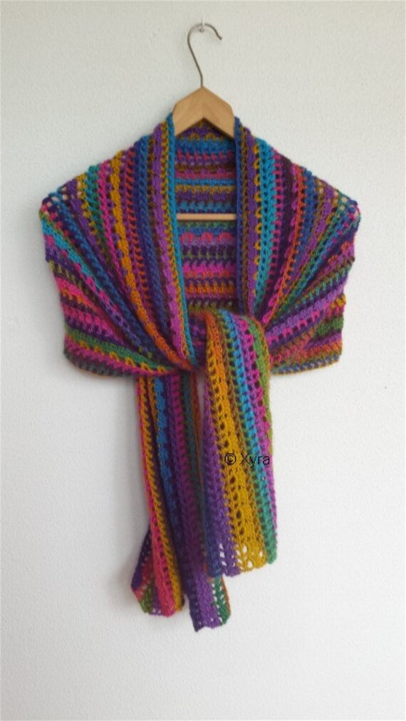 Patr0950 Xyra Crochet Pattern Straight Shawl Wrap With Etsy