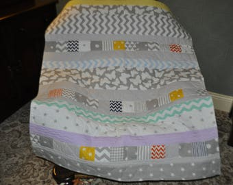 Patchwork Quilt, Handmade Patchwork Quilt, Handmade Quilt, Patchwork Quilted Chair Throw, Sofa Throw, Grey Yellow Green Patchwork Quilt!