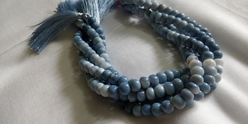 Beautiful Blue Oregon Opal Smooth Rondelle Beads,Fine Quality Blue Opal Beads,Opal,Smooth Beads,Suitable to make necklace 7-8MM 24 CM Length