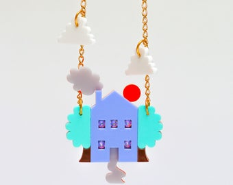 Laser cut Acrylic jewellery house necklace plastic accessories perspex jewelry