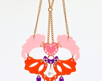 Angel wings acrylic plastic Perspex necklace