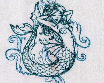 Mermaid  Embroidered Kitchen Towel // Dish Towel // Retro