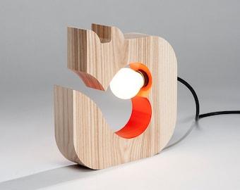 Fox table lamp. unique home lighting. Wooden lamp. bedside lamp. solid wood lamp. Wildwood Orange heart fox lamp