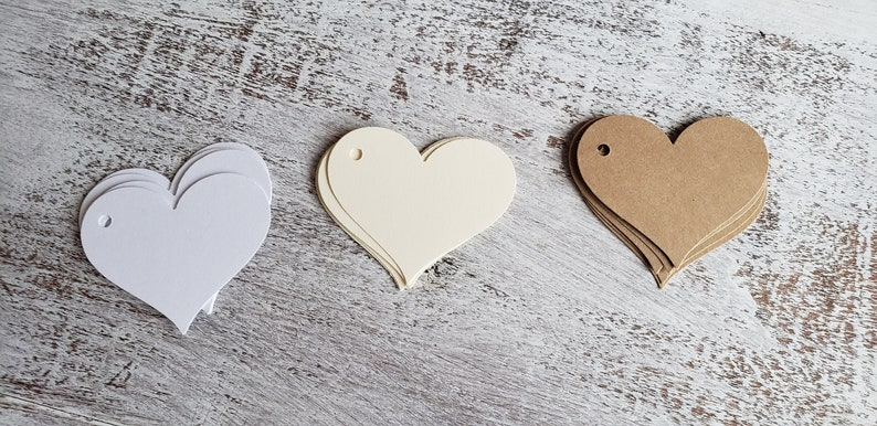 cf47acffc08d Luggage Tags - Paper Tags - Kraft Brown Gift Tags - Ivory Gift Tags - White  Gift Tags - Favor Tags - Blank Tags - Small Tags - Heart Tags