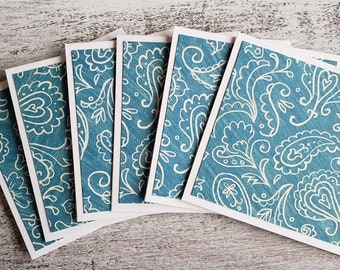 Mini Cards // Set of 6 // Turquoise Note Cards // 3x3 Cards // Thank You Cards // Blank Cards // Damask Note Cards