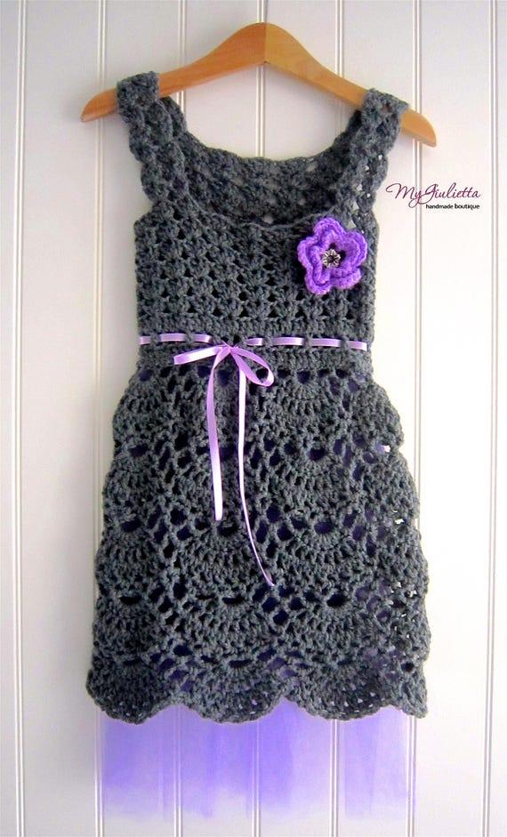 Häkeln Sie Lila Kleid Blumenmädchen Outfit Geschenk Crochet Etsy