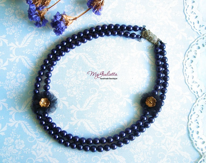 Purple Pearls Choker Necklace Blue Pearl Jewellery Bridal Jewellery Made in Italy Gift for her Stunning Choker Necklace Unique Necklace
