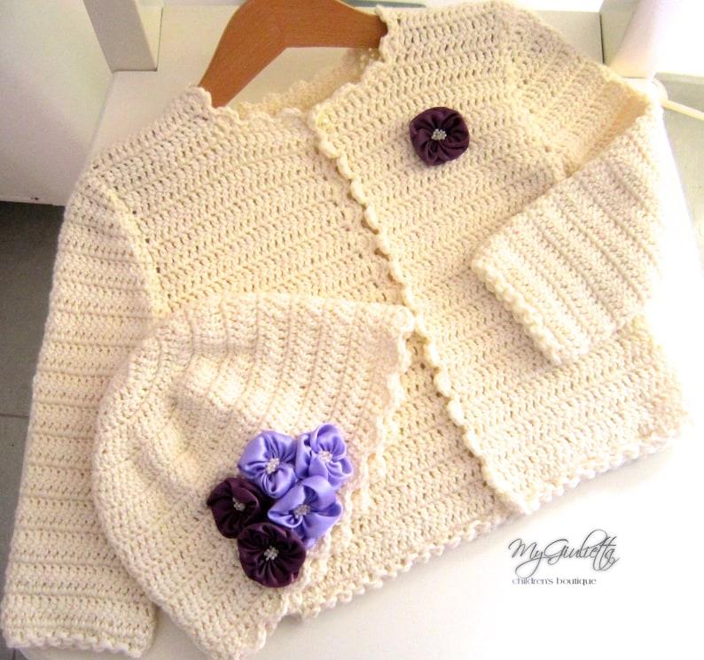 8b379b3c9 Ivory Crochet Girl Bolero Jacket with Lilac Pearls Hat Long