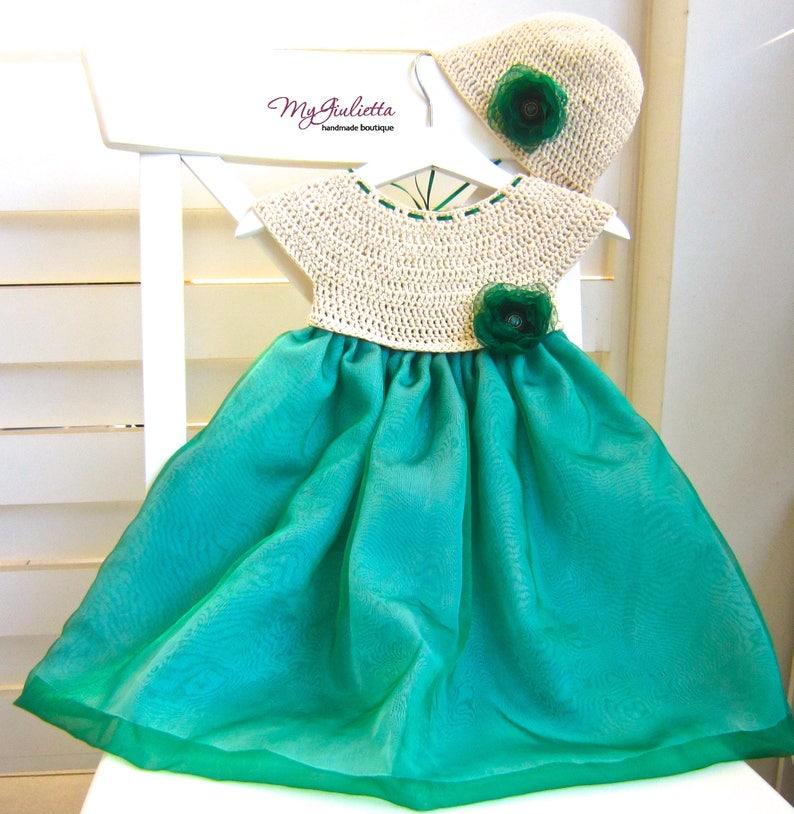 1493768c462c9 Vert bébé fille au Crochet robe robes de baptême pour fille