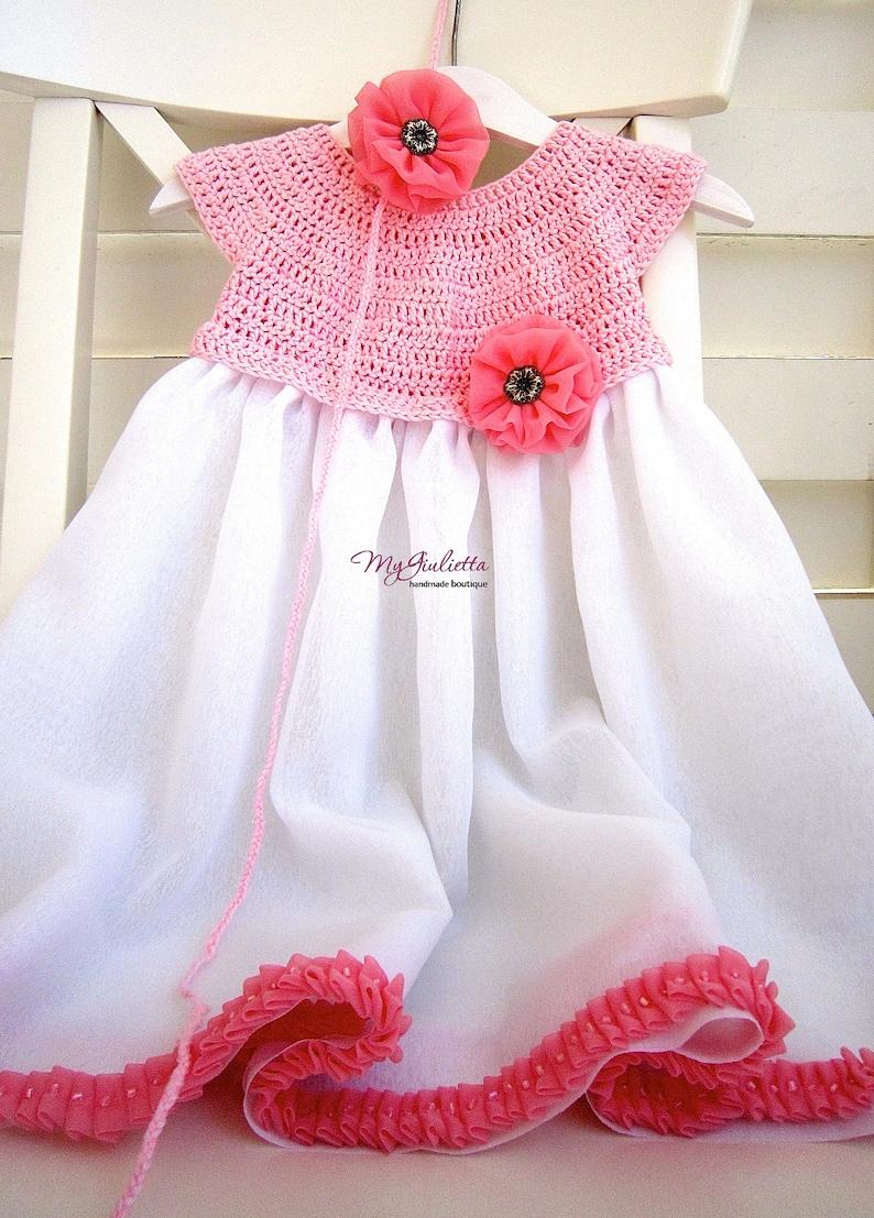 Crochet Dress 2 years Flower Girl Pink Crochet Chiffon Dress Toddler Flower Girl Dress Baby Dress Crochet Body White Dress Made in Italy