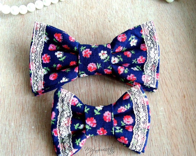 Italian Cotton Navy Blue Bow Tie Pre-tied Father and Son Matched Little Flowers Cotton Lace Sash Belt, Tied Bowties Brooch Pin Cotton Sash