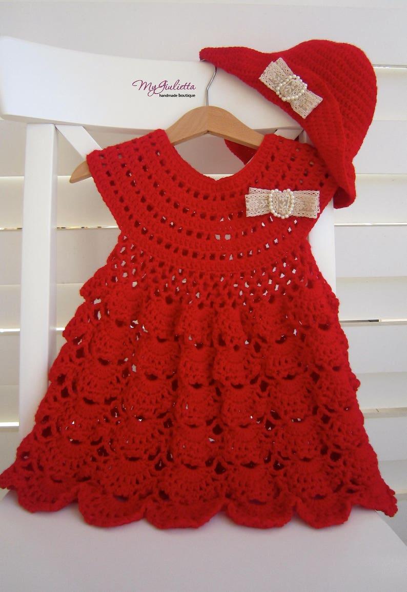 cc1a5b6dd8935 Rouge frais baptême robe robe fille rouge Crochet fille