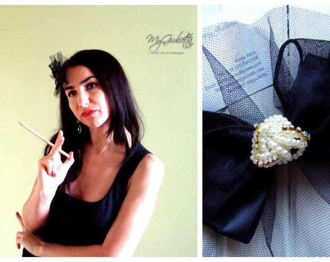 Modern Black Accessory Hair Black Gold Pearl Hat with Veil Black Formal Hat Tulle Veil Black 1950's Black Tulle Pearl Hat Fascinator Base