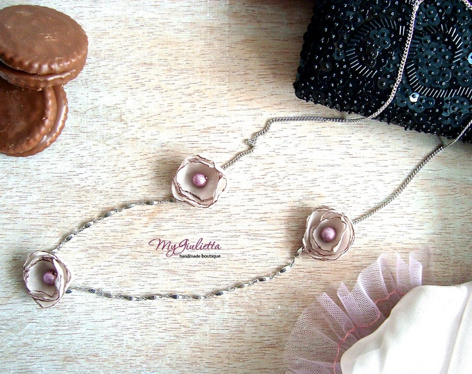 Mauve Beige Silk Floral Jewellery Boho Jewelry Feminine Necklace Pearl Station Dainty Necklace Fine Floral Chain Small Pearl Flower Necklace