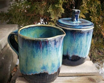 creamer and honey pot set black and teal handcrafted ceramic