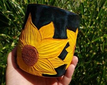 General Listing: kitchen crock sunflower, fern, custom