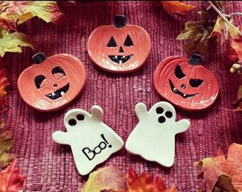 Trinket dish for Halloween ghost & pumpkins