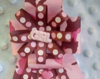 Pink camo baby shower corsage
