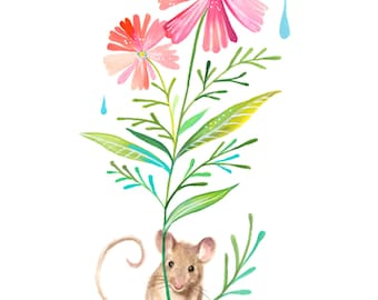 Field Mouse Art Print | Watercolor Painting | Nursery | Woodland Animal | Floral | 8x10 | 11x14