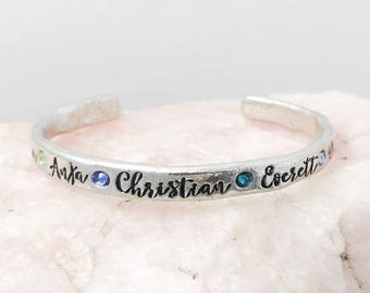 Personalized Birthstone Cuff Bracelet - Hand Stamped Mother's Jewelry - Children Names Bracelet - Trendy Adjustable Custom Bracelet for Mom