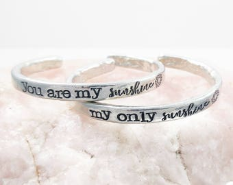 You Are My Sunshine My Only Sunshine Cuff Bracelet Set -  Mother Daughter Gift - You Are my Sunshine - Trendy Hand Stamped Cuff Bracelet Set