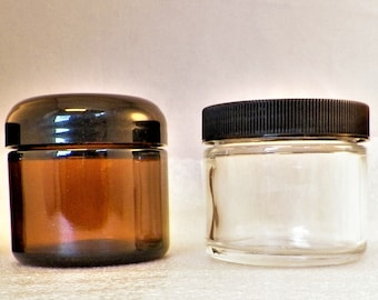 24-72Pc Set, 2oz EMPTY Jars w/ Var. Lids+Inner Liners. Colors:-Clear/ Amber Glass [Better than PET!]  salves balm face cream hair Skin serum