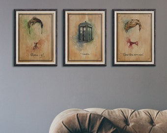 Doctor Who illustration 6 pack limited edition watercolor