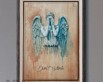 Don't Blink Weeping Angels of Doctor Who illustration limited edition watercolor copy