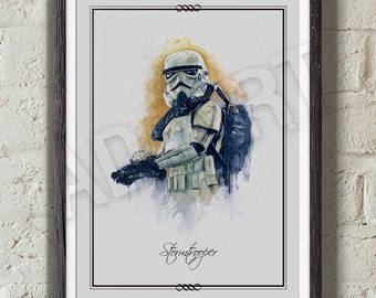 Stormtrooper of Star Wars illustration limited edition watercolor copy