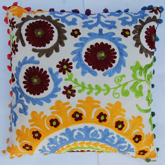 Suzani Cushion Covers Indian Decorative Pillow Cases Handmade Etsy