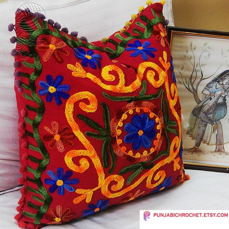 Suzani Poszewka Rangoli Indyjskie Płótno Piękne Dekoracyjne Poduszki Royal Tradycyjnej Etnicznej Grafiki Wnętrze Decor16