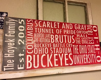 Ohio State Personalized Subway Style Distressed