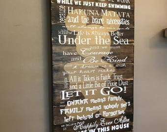 Disney Quotes In This House We Do Disney Planked Wood