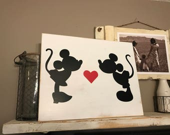 Mickey & Minnie Love Distressed Wall Sign