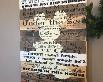Disney Quotes Family Rules Disney In This House Planked Wood Sign Mickey Mouse Browns