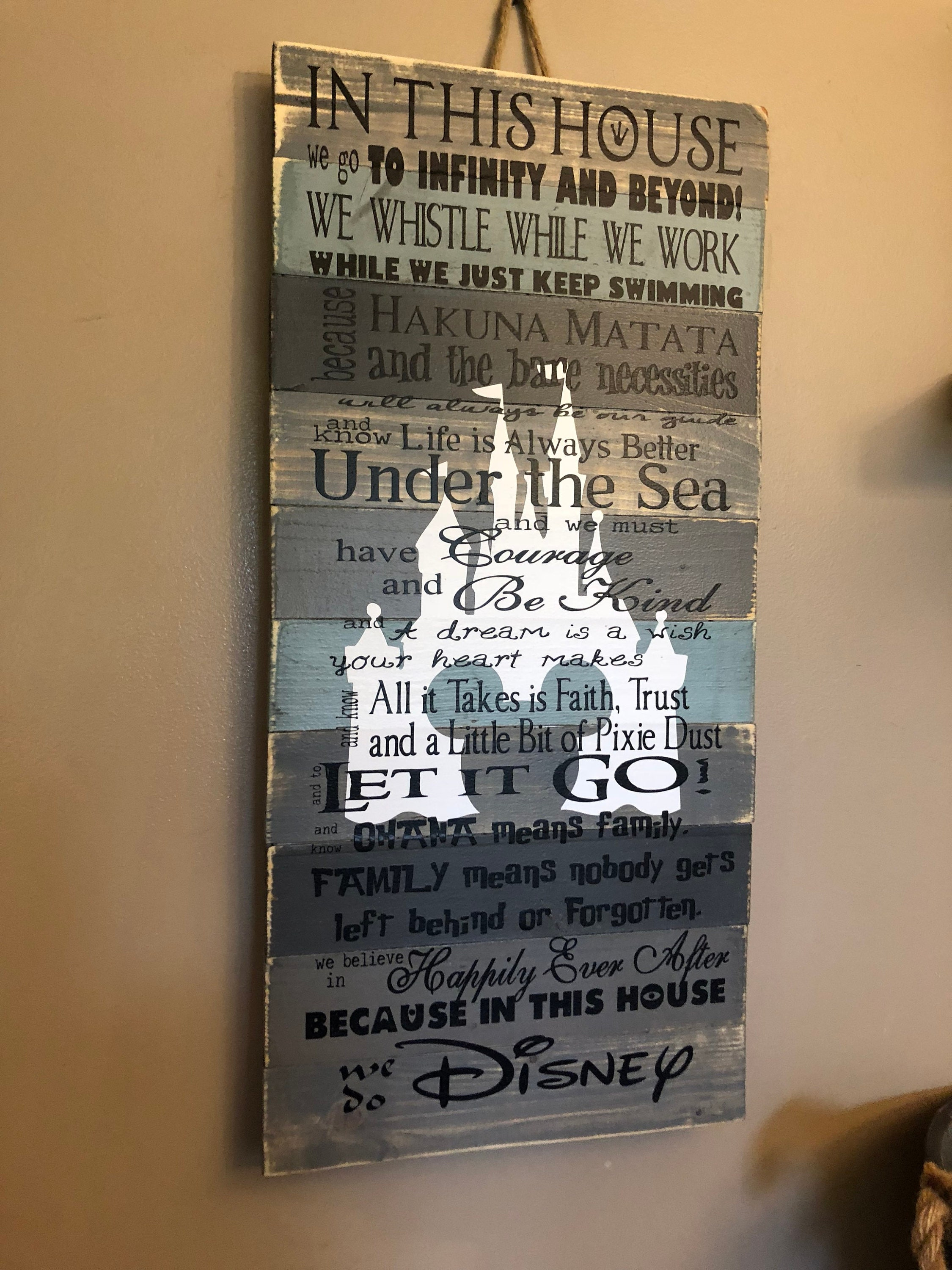 Disney Quotes In This House We Do Disney Planked Grey Etsy