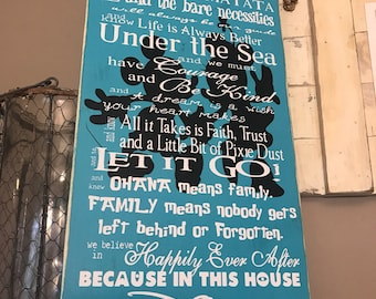 Disney Quotes Mickey Family Rules teal