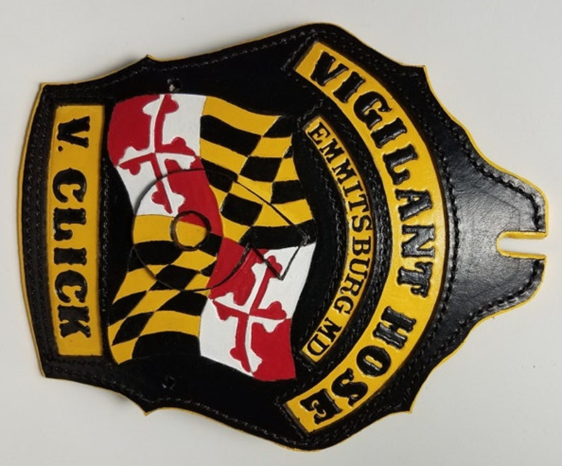 CUSTOM LEATHER SPECIALTY Firefighter Gift Personalized Fire Helmet Shield Patch custom made leather Fireman RetirementPromotion