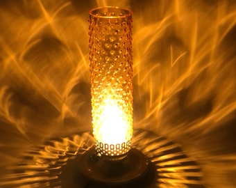 """Amber Hobnail Glass Shade Electric Hurricane Lamp, 14"""" Cylinder with Wood Base"""