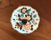 Stratton Made in England Compact for Powder with Mirror in Floral Enamel Design