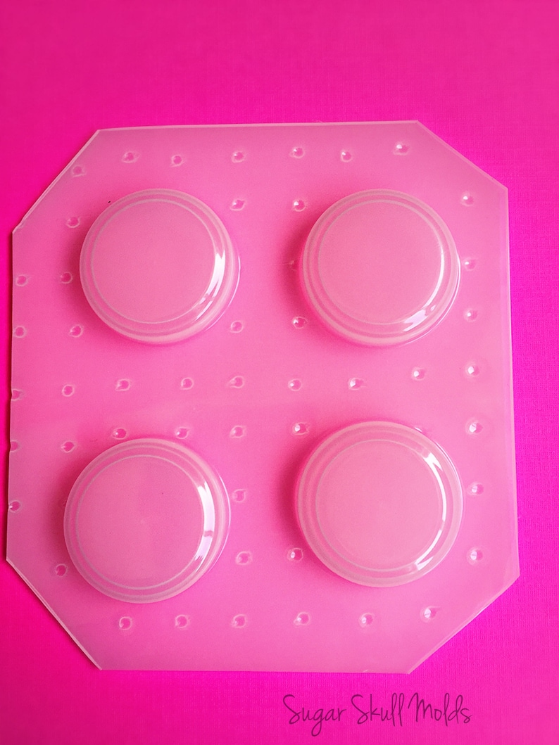 4pc Small 1/&14 Inch Flat Beveled Coin Round Dome Flexible Plastic Mold For Resin Jewelry Crafts